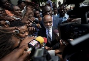 Rene Preval at Duvalier's hearing. Photo by Dieu Nalio Chery