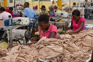 Workers in garment shop in Haiti. Photo by Richard Perry/New York Times